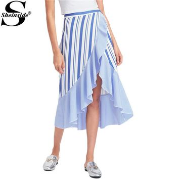 Sheinside Mixed Striped Wrap Skirt Asymmetrical Women Blue Ruffle High Low Empire Midi Skirts 2017 Summer Elegant Draped Skirt