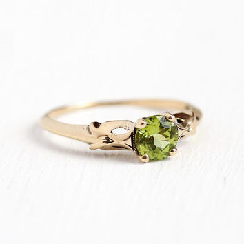 Genuine Peridot Ring - Vintage 10k Rosy Yellow Gold .55 Carat Solitaire - Size 7 3/4 1950s Fine August Birthstone Green Gemstone Jewelry