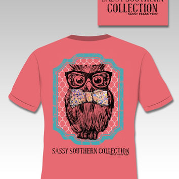 Sassy Frass Funny Southern  Preppy Owl Bow Bright Girlie T Shirt