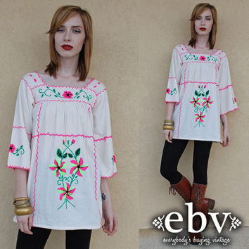Vintage Mexican Dress Embroidered Dress Vintage Hippie Dress Vintage 70s Cream Mexican Embroidered Hippie Boho Bell Sleeve Dress Tunic XS S