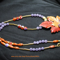 Autumn necklace; orange purple necklace; Thanksgiving necklace; Fall leaf necklace; repurposed jewelry;