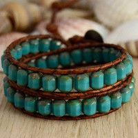 Turquoise and brown bracelet. Hippie jewelry. Double wrap bracelet