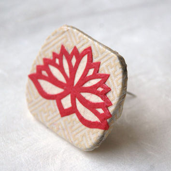 Lotus Flower Brooch Hanji Paper Pin OOAK Dress Clip Floral Design White Ivory Hot Pink Stainless Steel Pin Handmade