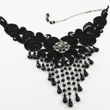 Victorian Choker Necklace, Lace Bib Necklace, Beaded Handmade Choker, Black Wedding, Victorian Jewelry, Gift Idea for Her