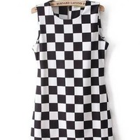 Black and White Plaid Sleeveless Dress S010584