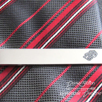 Groom Tie Clip Gift, Personalized Tie Clip for Groom, Gift for Fiance Man, Gambler Groomsmen Gift, Gamer Tie Bar, Dice Tie Clip