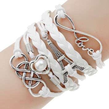 Leather Charms Bracelet --Available in 19 Variations