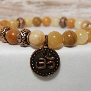 Brown Italian Onyx Gemstone Bracelet ~ 8 mm Onyx beads, Copper Om disc charm and Copper Spacer beads ~ stretch cord, 7.5""