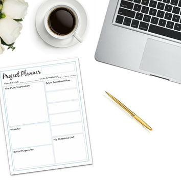 Project Planner Printable | PDF | printable to do list | shopping list | work tool | work organizer | project planner printable