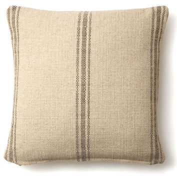 French Laundry Home, Striped 20x20 Linen-Blend Pillow, Brown, Decorative Pillows