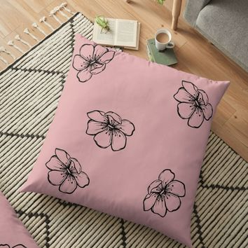 'Poppies on Pink Field' Floor Pillow by Carmen Ray Anderson
