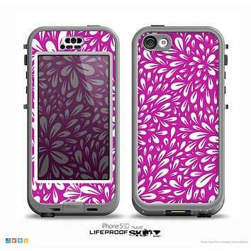 The Hot Pink & White Floral Sprout Skin for the iPhone 5c nüüd LifeProof Case