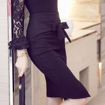 DCCKON3 plus sizefashion slim Women skirt high waist bow work pencil skirt stretch Elegant  lady skirts