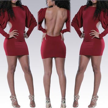 Red Bat Sleeve Backless Bodycon Mini Dress