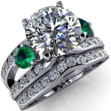 Orion Round Moissanite 2 Round Emerald Sides Split Shank Diamond Channel Set Ring