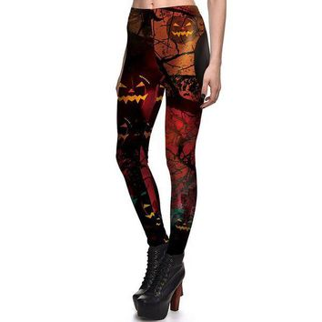 DCCKH6B New Arrival 3761 Sexy Girl Halloween pumpkin lamp Jack O Lantern Printed Elastic Fitness Polyester Workout Women Leggings Pants