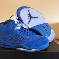 Flight Suit Air Jordan 5s RAGING BULL RED Suede ICE Blue Suede 5s Basketball Shoes