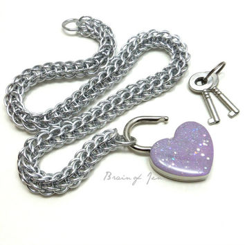 Locking Slave Collar Silver Aluminum with Sparkly Lavender Heart Shaped Padlock