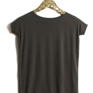 Piko Girl Scoop Neck Short Sleeve Shirt in Army G2195-ARMY