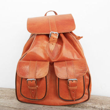 Caramel Natural Leather backpack, Girls satchel bag Handmade Soft Leather School College Travel Picnic Weekend bag
