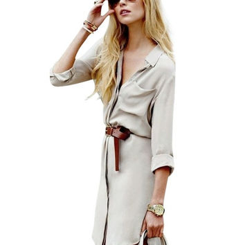 Stylish Women Turn-Down Collar Long Sleeve Solid Casual Mini Shirt Dress = 1838575300