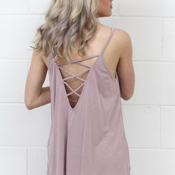 Strappy Open Back Modal Tank {Mauve}