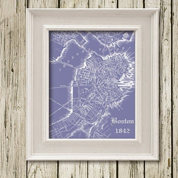 BOSTON MAP Printable Instant Download Print poster Home Decor Wall Art CM031violet
