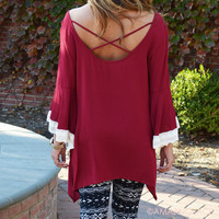 Candlelight Burgundy Fringe Sleeve Top