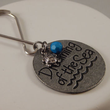 Dreaming of the Sea Keychain - beach nautical gift idea; package tie on, stocking stuffer - summer trip memorabilia, turtle collector