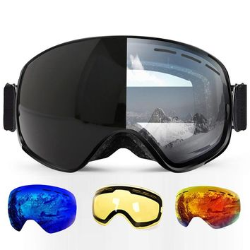 Ski Goggles Photochromic Clear Skiing glasses Airsoft UV Protection Snowboard for All Weather Men Women Big Spherical Mask sci