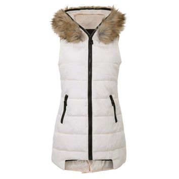 Stylish Hooded Detachable Fur Collar Sleeveless Slimming Zipper Design Women's Cotton Vest
