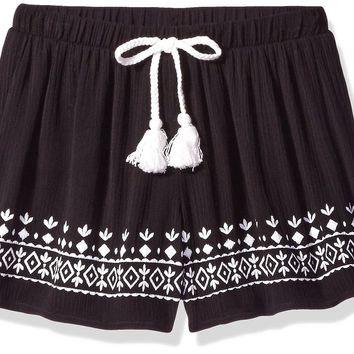 Big Girls' Soft Shorts with Embroidered Hem and Drawstring with Tassels