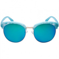 Blue Cat Eye Mirror Lens Round Sunglasses