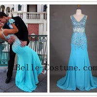Elegant Prom Dress 2016, V-Neck Sheath Court Train Chiffon Blue Prom Dress With Beading