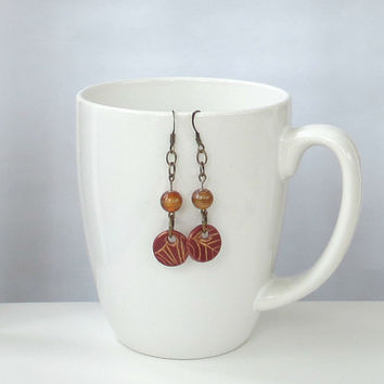 Oxblood Red Dangle Earrings Embossed Gold Henna Pattern Dark Brick Red Polymer Clay Boho Style Mixed Media Jewelry Vintage Amber Glass Beads