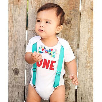 First Birthday Outfit Boy Teal and Rainbow Colorful Bow Tie Red One