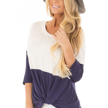Navy and Ivory Color Block Top with Front Twist Detail