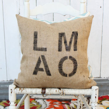 LMAO Burlap & Chevron 18 Hand Painted Pillow by MySwallowsNest