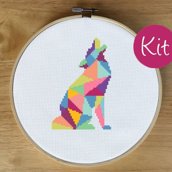 Wolf Cross Stitch Kit, Geometric Animal Cross Stitch