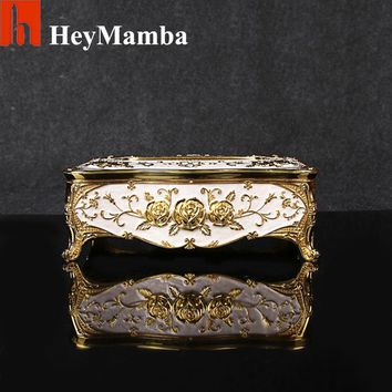 Home Car Metal Tissue Box Case European Gold Plated Rose Napkin Paper Holder Zinc Alloy Removable Tissue Box Napkin Box