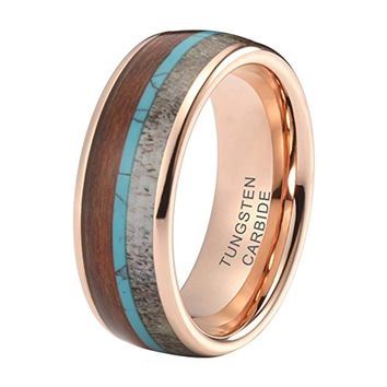 CERTIFIED 8mm Tungsten Carbide Wedding Bands Deer Antler Koa Wood Turquoise Inlay
