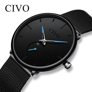 CIVO Fashion Mens Watch Slim Mesh Steel Waterproof Minimalist Wrist Watches For Men Quartz Sports Watch Clock Relogio Masculino