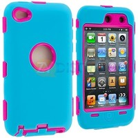 BABY BLUE PINK 3-PIECE HARD/SKIN CASE COVER FOR IPOD TOUCH 4 4TH GEN+PROTECTOR