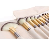 Makeup Brushes 24pcs Quality Natural Cosmetic Brush Set with Leather Pouch, 24 Count Bursh set For Eye Shadow, Blush, Concealer(cream-coloured)
