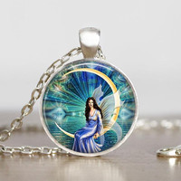 Gift for Teenager, Fairy and Moon Pendant, ,  Little Sister Gift Idea