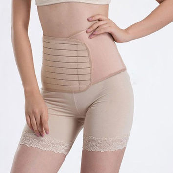 Popular Postpartum Support Recovery Abdomen Belt Band Post Pregnancy Slimming Tummy Binder (Color: Beige) = 1695513220