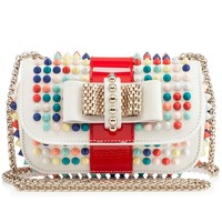 SWEETY CHARITY CALF SPIKES MIX,WHITE/MULTIC MAT,Calf,Louboutin,Women Bags