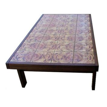 Pre-owned Large 1960s French Tile Coffee Table Signed