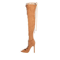 Tan lace-up over the knee heeled boots - knee high boots - shoes / boots - women