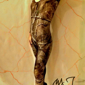 bodysuit catsuit real tree print fabric sample sale close fitting  camo wood print spandex  mjcreation s